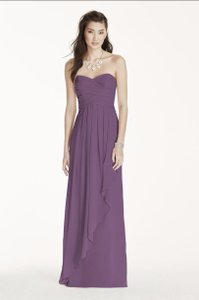 David's Bridal Wisteria Strapless Crinkle Chiffon Dress With Cascade Skirt Dress
