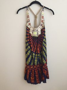 Free People Boho Tie Dye Embroidered Tunic