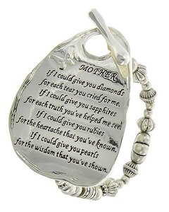 Antique Silver Tone Toggle Closure Mother's Message Stretch Bracelet