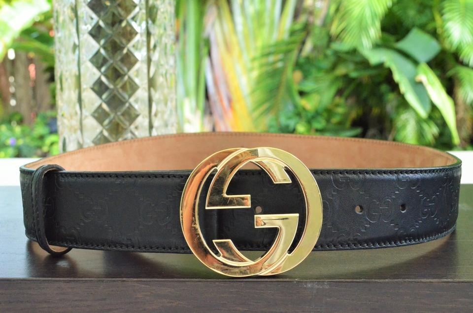 d8cd24735c Gucci Black Mens Gg Web Print Leather Silver Buckle Belt