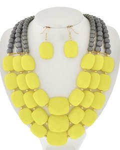 Grey & Yellow Acrylic Multi Row Necklace & Earring Set