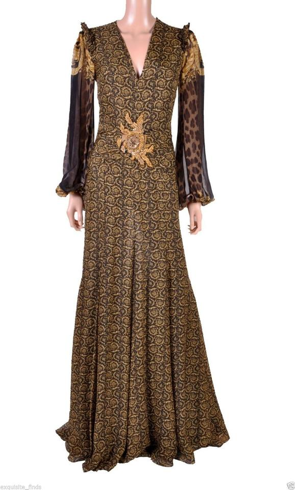 Versace Gold Brown New Mixed Print Silk Gown Long Formal Dress Size