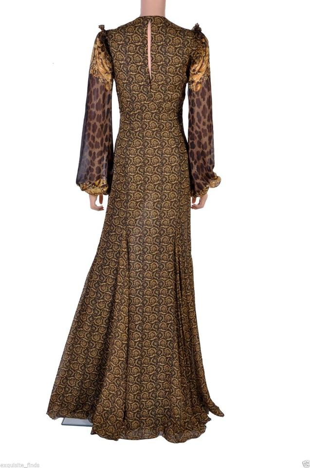 Versace Gold Brown New Mixed Print Silk Gown Long Formal Dress Size ...