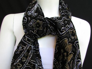 Women Black Scarf Multi Colors Big Flowers Faux Velvet Shades