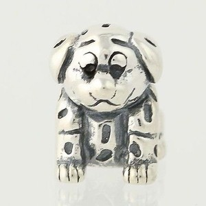 Dalmatian Puppy Dog Bead Charm - Sterling Silver 925 Animal Pet Collectible