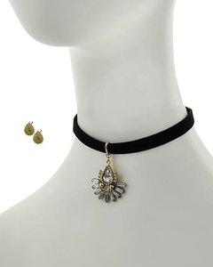 BRANDED Black Leatherette Clear Acrylic & Rhinestone Choker Set