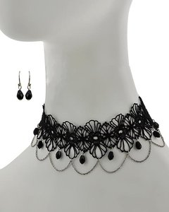 Black Glass & Mesh Choker Necklace and Earrings