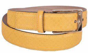 Gucci Gucci Men's 345658 YELLOW Diamante Leather Belt 34 85