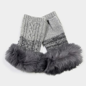 Gray Angora Wool Fur Trim Fingerless Gloves