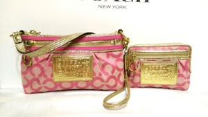 Coach Lurex Poppy Pink Set Wallet Shoulder Bag