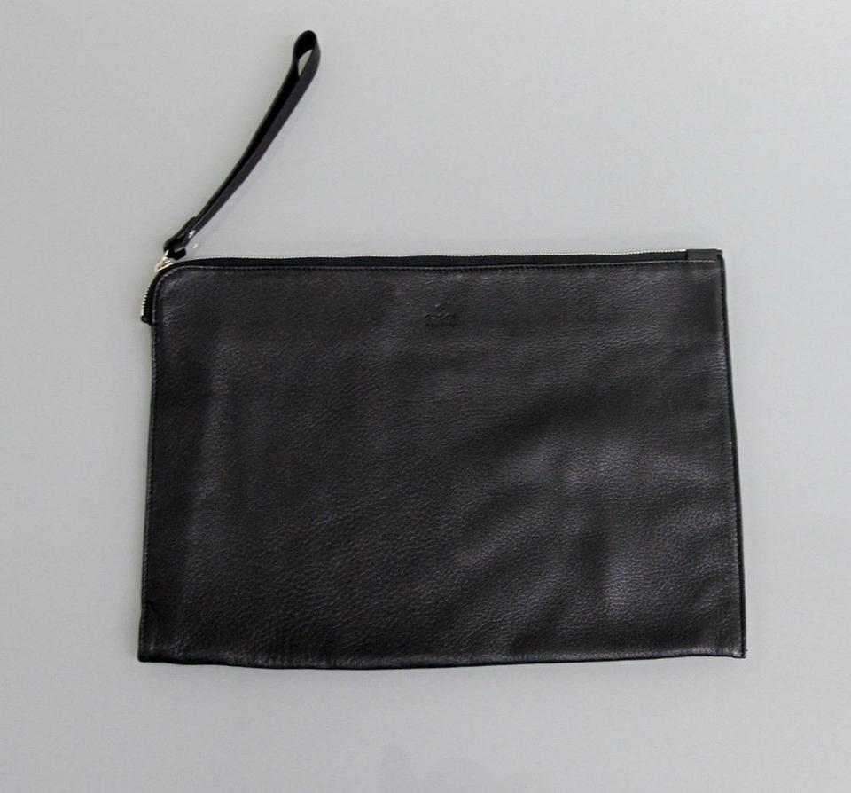 32d88243730 Gucci New Large Leather Pouch W Trademark 256395 Black Crystal Gg Fabric  Wristlet