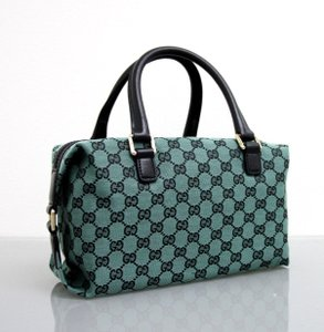 Gucci Gg Joy Boston Satchel in Green and Black Guccissima