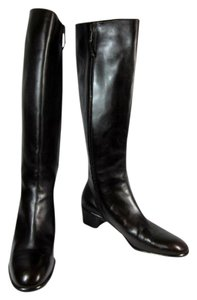 Salvatore Ferragamo Leather Tall Logo Brown Boots