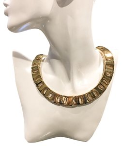 Salvatore Ferragamo Gold Link Logo Collar Choker Necklace