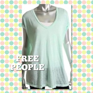 Free People Bohemian V-neck Slouchy Oversized Sheer T Shirt Mint Green