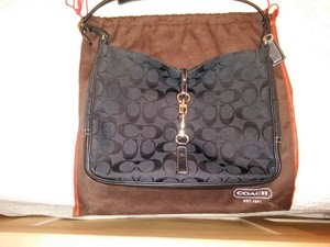 Coach Leather Black Canvas Hobo Bag