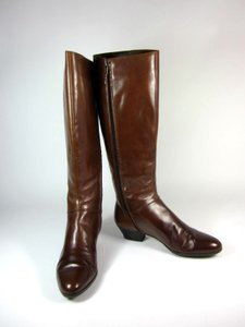 Salvatore Ferragamo Leather Tall Logo Brown Cognac Boots