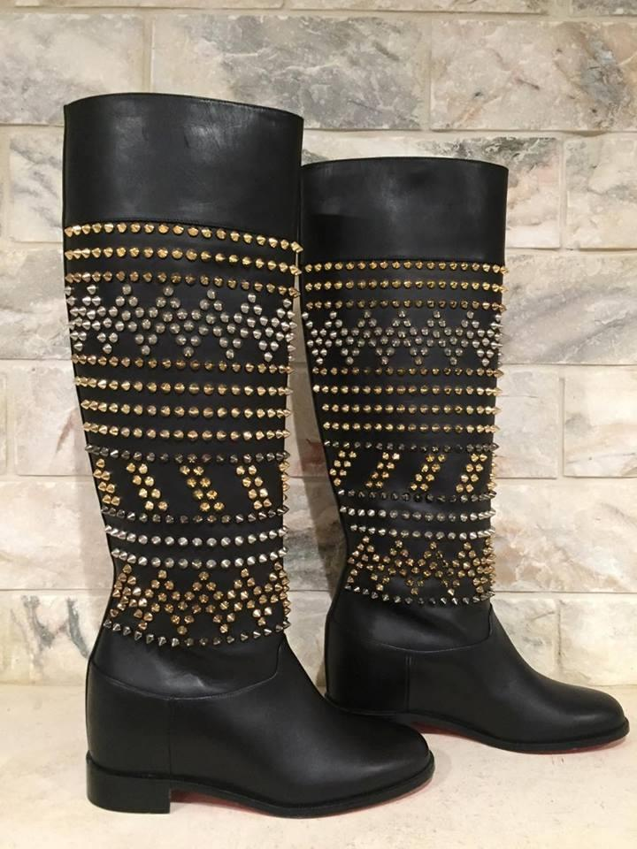 5d20a1f8c78 Christian Louboutin Black Rom Chic Spike Leather Knee Tall 35.5 Boots  Booties