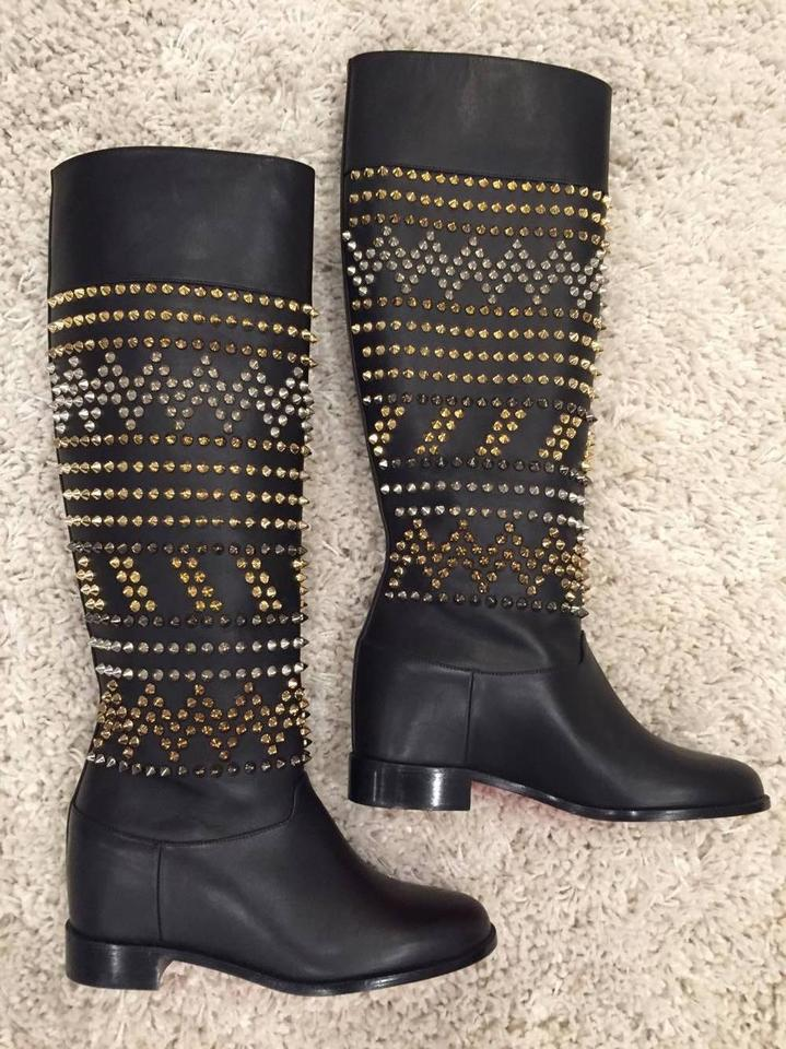 a1868335002 Christian Louboutin Black Rom Chic Spike Leather Knee Tall 35.5 Boots  Booties Size US 5.5 Regular (M