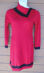 Ellen Tracy Knit Floppy Collar Bold Color Dress