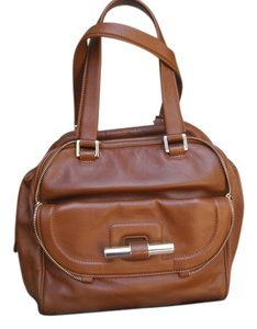 Jimmy Choo Justine Top Handle Leather Like New Satchel in Caramel