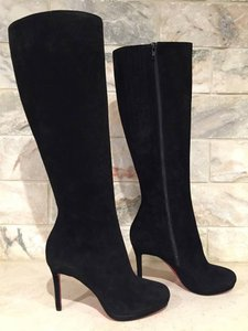 Christian Louboutin Botalili Stiletto Knee High Suede Zipper black Boots