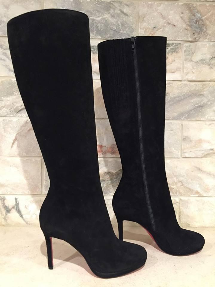 finest selection 840b9 676c7 Christian Louboutin Black Botalili 100 Suede Zipper Knee Boots/Booties Size  EU 35.5 (Approx. US 5.5) Regular (M, B) 21% off retail
