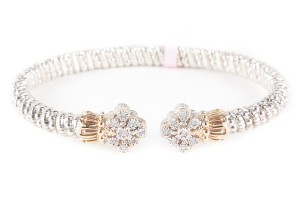 VAHAN Vahan Silver And Gold Open Band Bracelet With Diamond Accents