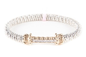 VAHAN Silver And Gold Bracelet With Diamond Accents