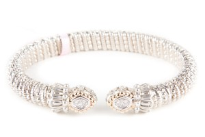 VAHAN silver And Gold Open Band Bracelet With Diamond Accents