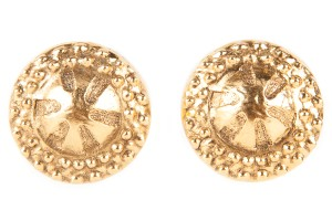 Chanel Chanel Round Hammered Gold Large Clip On Earrings