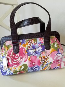 Talbots Satchel in floral, pink, purple, green