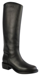 Chanel Riding Logo Calfskin Leather Knee High black Boots