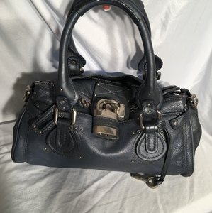 Chloé Satchel in Blue Metallic