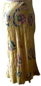 Catherine Malandrino Tulip Shape Silk Side Skirt Pale Yellow
