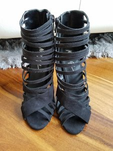 Nasty Gal Suede Strappy Open Toe Accessories Black Boots