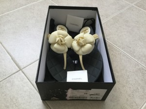 Chanel New In Box Ivory Ivory,Black Sandals