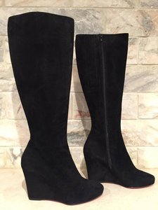 Christian Louboutin Melisa Wedge Suede Zipper black Boots