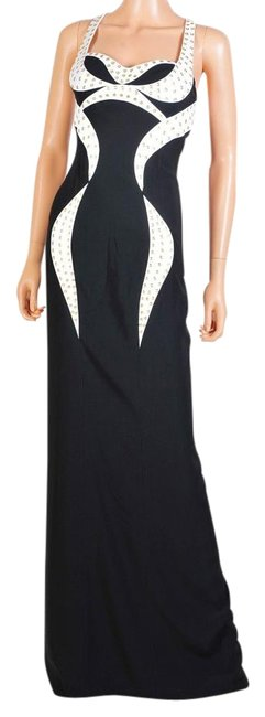 Item - Black White New and Eyelet-studded Gown Long Formal Dress Size 6 (S)
