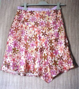 Anthropologie Silk Skirt pink floral