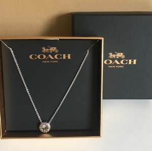 Coach NEW Coach Open Circle Stone Strand Necklace Silver Plated-One Size