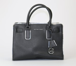 Michael Kors Dillion Safiano Leather Satchel in Black