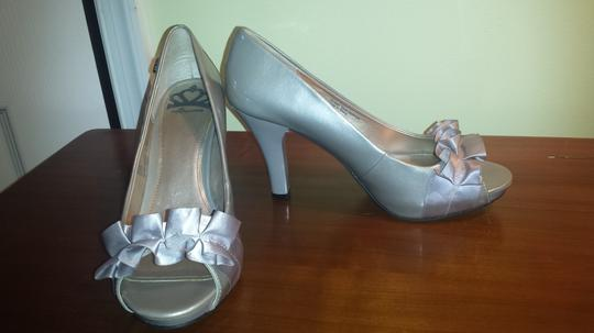 Fergalicious by Fergie Metallic Open Toe High Heel Silver Pumps