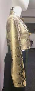 Donald J. Pliner Bolero Style Gromets Faux Python Cream and Brown Leather Jacket