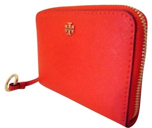 Tory Burch NWT TORY BURCH ROBINSON ZIP COIN CREDIT CARD CASE WALLET POPPY RED