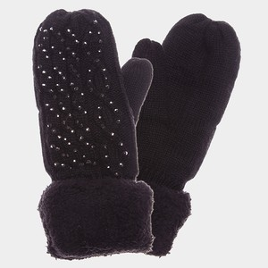 Other Black Fleece Lined Cable Knit Crystal Accent Mitten Gloves
