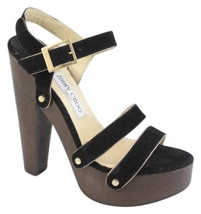 Jimmy Choo Suede Holiday Comfortable Black & Gold Platforms