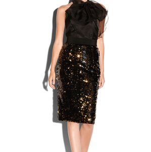 MILLY Skirt Black and gold sequins