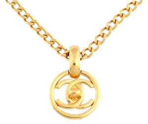 Chanel **sold on aff** Golden Long Turn Lock Necklace