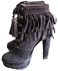 B Brian Atwood Suede Gold Tassels Chocolate Tempesta Boots